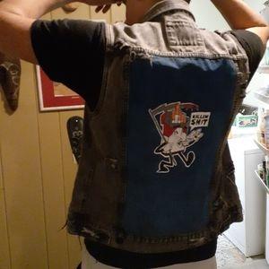 """Custom Distressed 21Men Denim Vest """"Killin $#!+"""""""